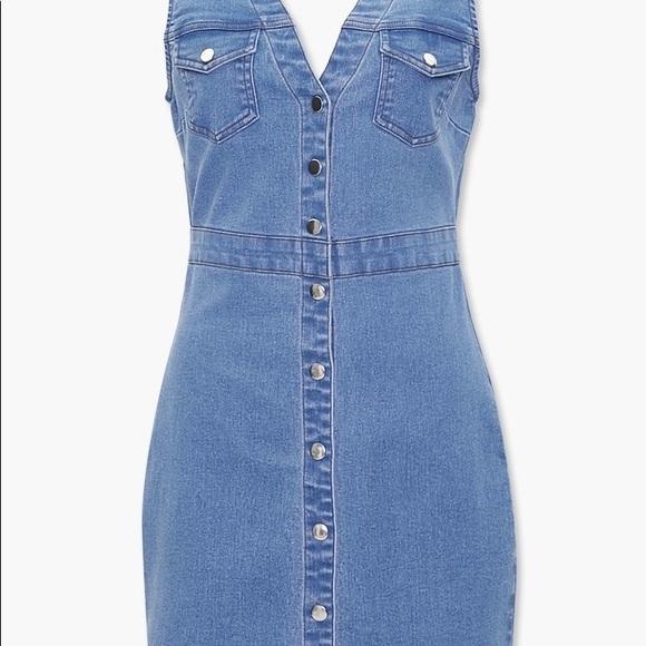 Blue denim button up dress
